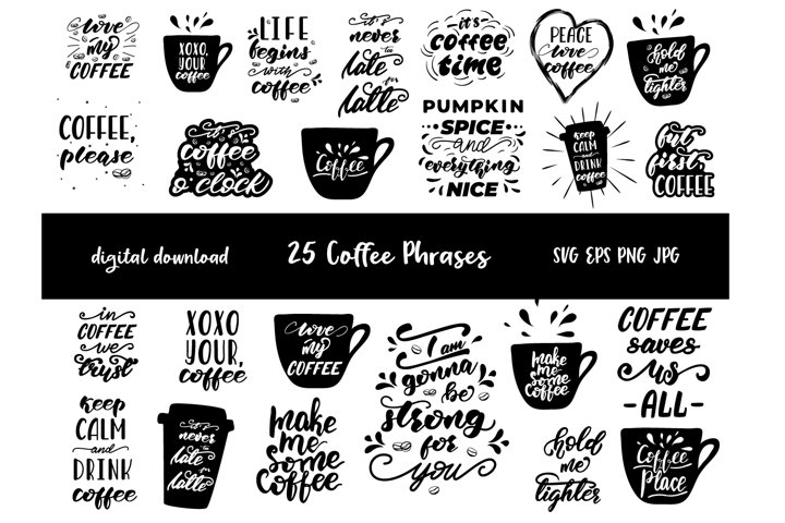 Coffee quotes SVG, Hand lettered coffee clip art, Coffee SVG