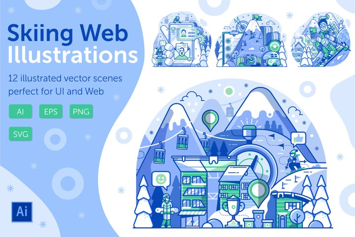 Skiing Resort Web Illustrations