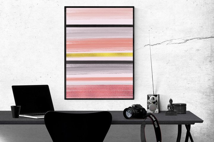 Abstract Geometric Peach Black & Gold Art Set of 2   Digital