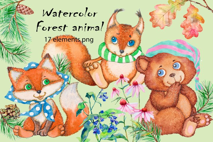 Forest animals watercolor clipart collection
