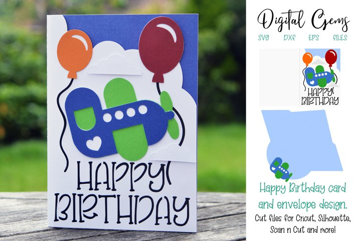 Birthday card and envelope design SVG / DXF / EPS files