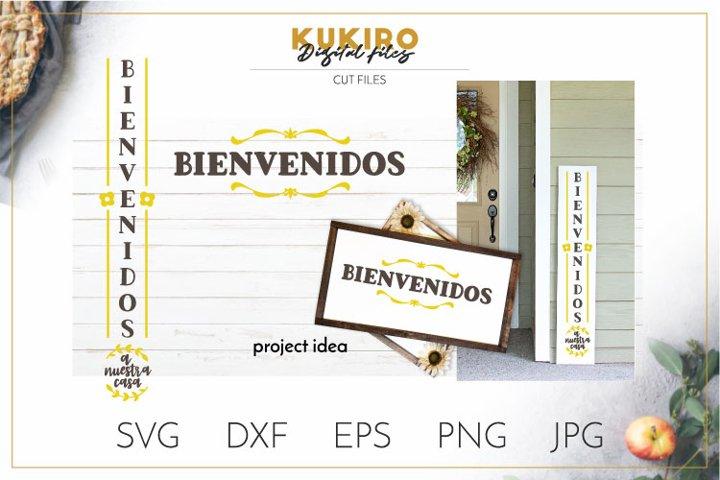 Bienvenidos a nuestra casa SVG - Porch Verical sign Spanish