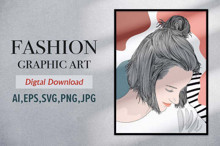 Fashion Graphic Short hair style girl in spring