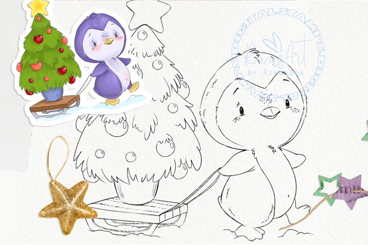 Christmas Digital stamp - Cute penguin with tree coloring