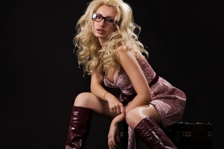 girl, sexy, boots, suitcase, blonde, beauty