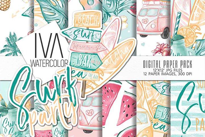 Summer digital paper, Surfing digital paper
