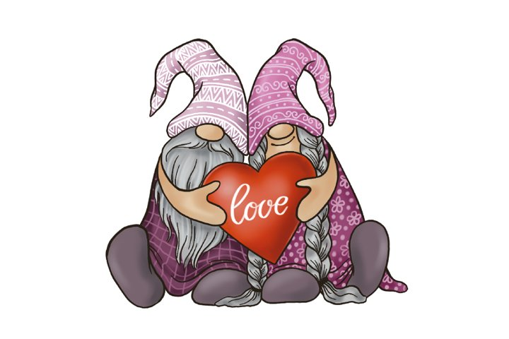 Valentine gnomes with heart sublimation png