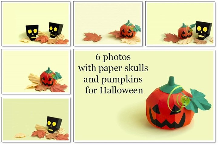 Volumetric paper skulls and pumpkins Jack-o-lantern