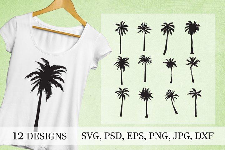 Palm tree silhouette silhouette set