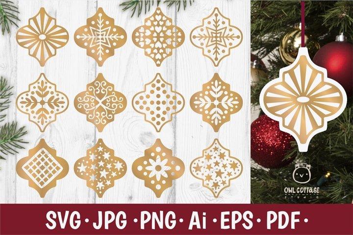 Arabesque Christmas Ornament SVG Bundle, Christmas Ornaments