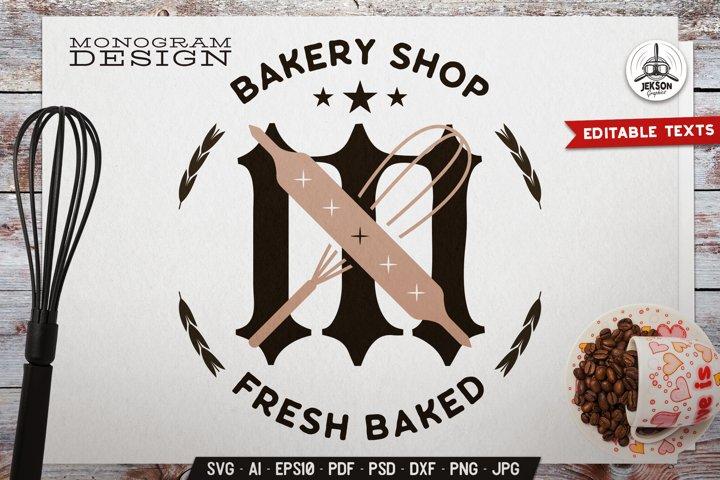 Bakery Shop Monogram SVG Design With Kitchen Utensils DXF