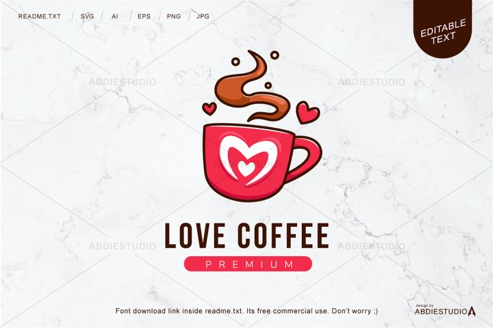 Cute Love Coffee Logo
