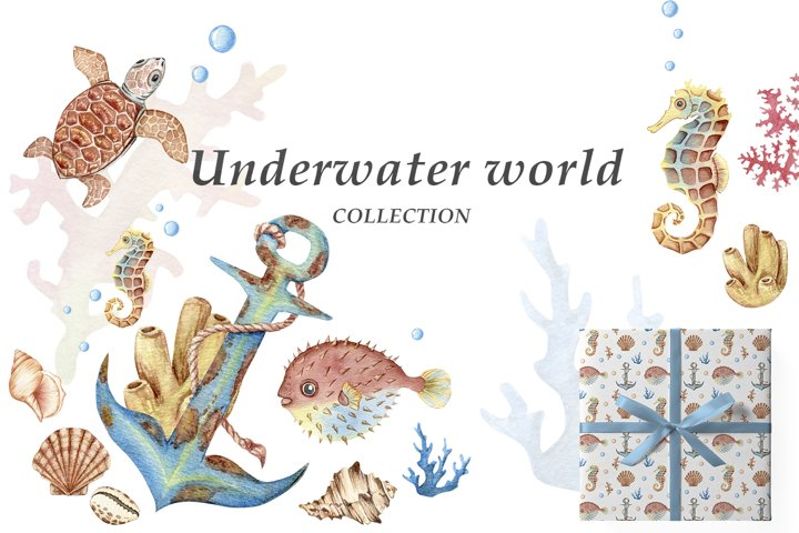 Underwater world. Watercolor collection of seamless patterns