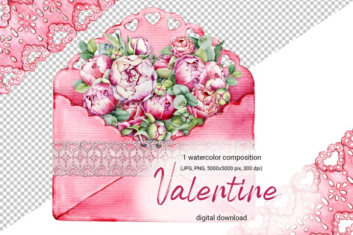 Valentines day card and flowers heart, watercolor clipart