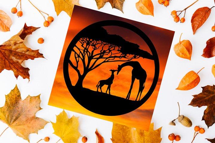 Giraffes Paper Cut Design SVG PNG PDF JPEG