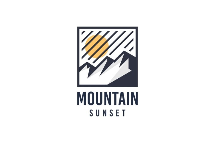 Minimalist Sunset Mountain Logo