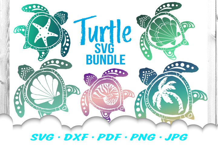 Sea Turtle Summer SVG DXF Cut Files Bundle