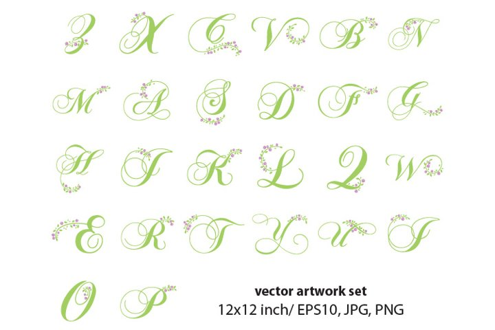 floral, monogram letters-VECTOR ARTWORK SET