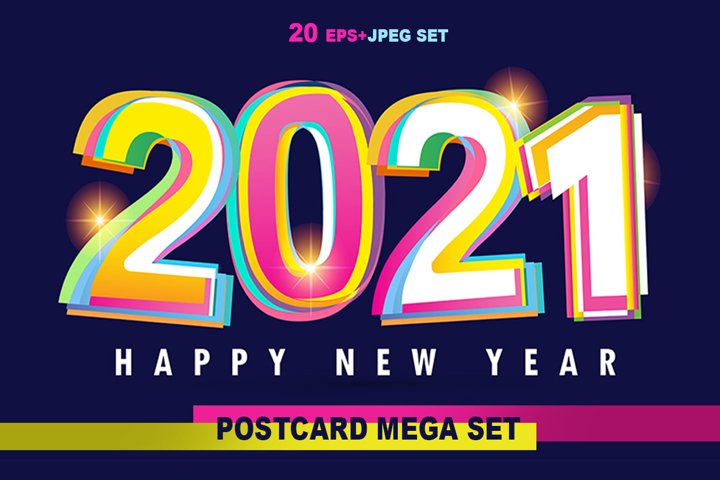 Happy new 2021 year - mega set label