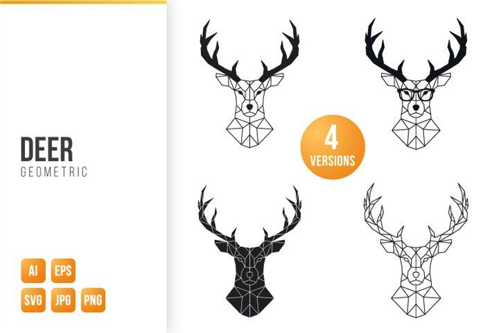 Geometric Deer bundle. Set of 4 Deer designs.