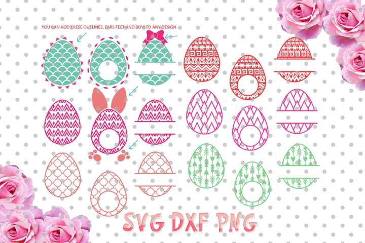 Easter egg Monogram Frames SVG Cut Files for Vinyl Cutters, Screen Printing, Cricut and Die Cut Machines, Silhouettes, SVG, DXF
