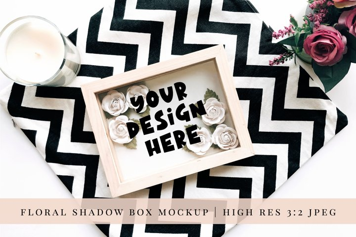 Paper Flower Shadow Box Mock up 4