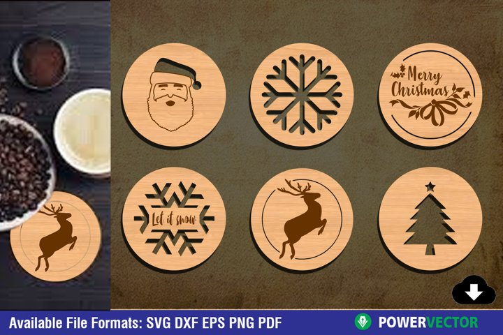 Christmas Coaster Laser CNC Cutting Engraving Files
