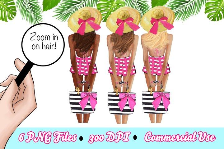 Summer Girl Clipart, Beach Clipart, Summer Fashion