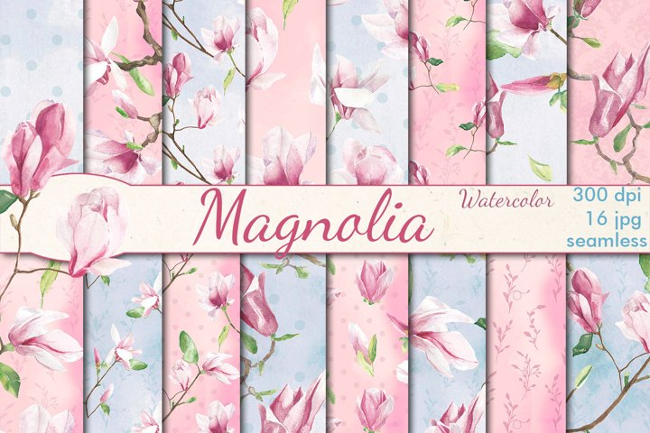 Watercolor Magnolia seamless patterns