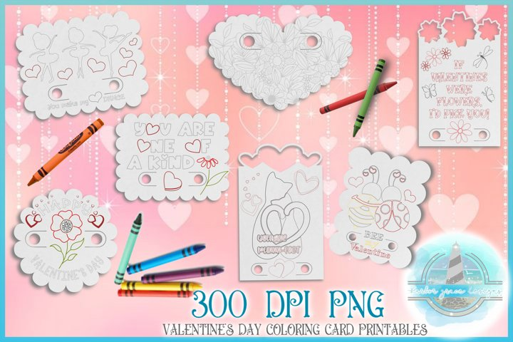 Valentines Day Coloring Cards with Crayon Slot 300 DPI PNG
