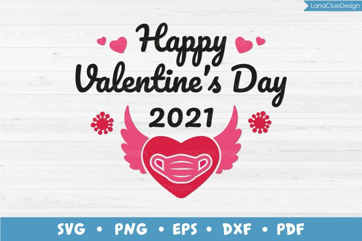 Happy Valentines Day 2021 SVG, Quarantine, Masked Heart