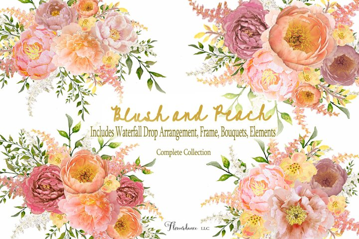 Watercolor Clipart Bundle Blush Pink and Peach Peony