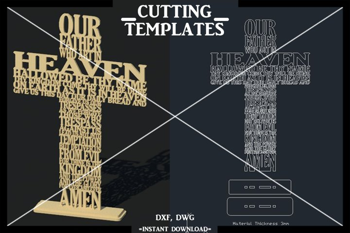 Our Father Cross 3D Decor Vector Laser Cut Template Cut File