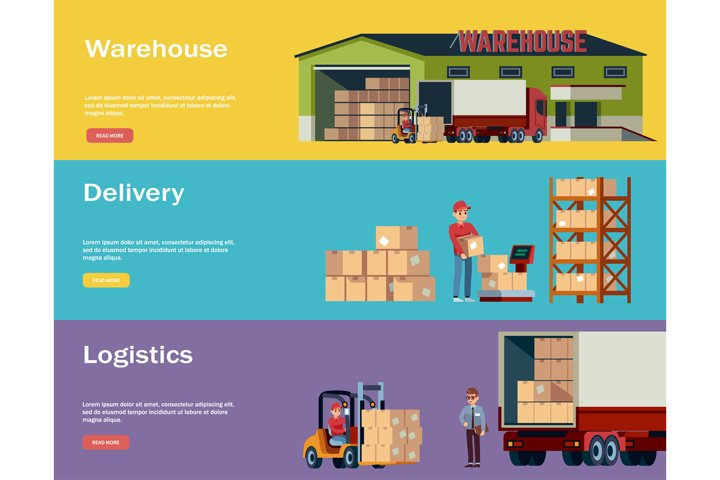 Logistic warehouse horizontal banners. Logistic transportati