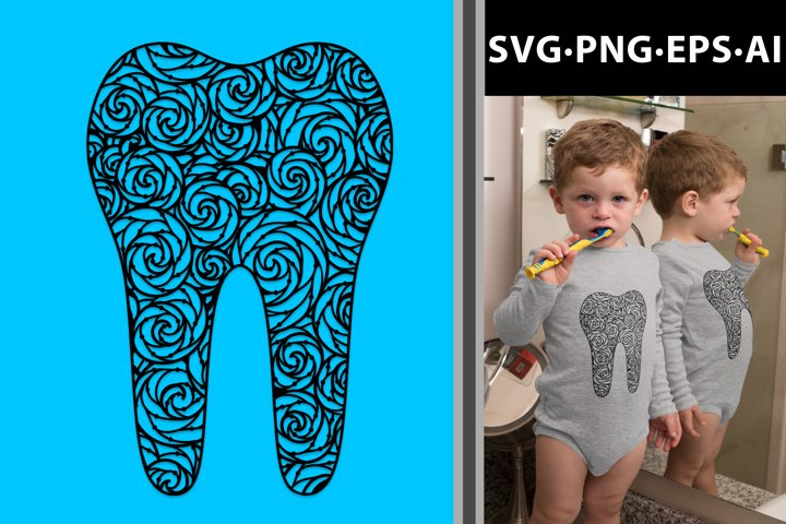 Mandala Tooth Design. Tooth Fairy Zentangle svg png ai eps
