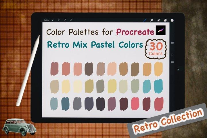 Color Palettes set for Procreate - Retro Mix Pastel Colors