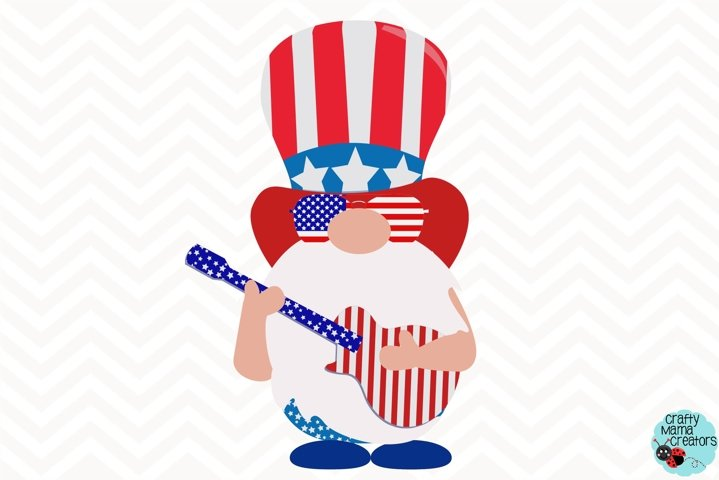 4th Of July Svg, Gnome Clipart, Guitar Svg, Independence Day