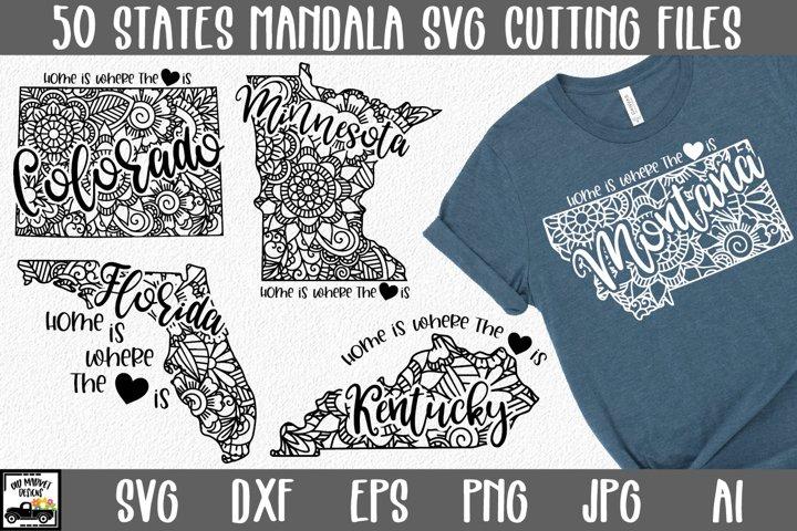 50 States Mandala SVG Bundle - State SVG Cut File