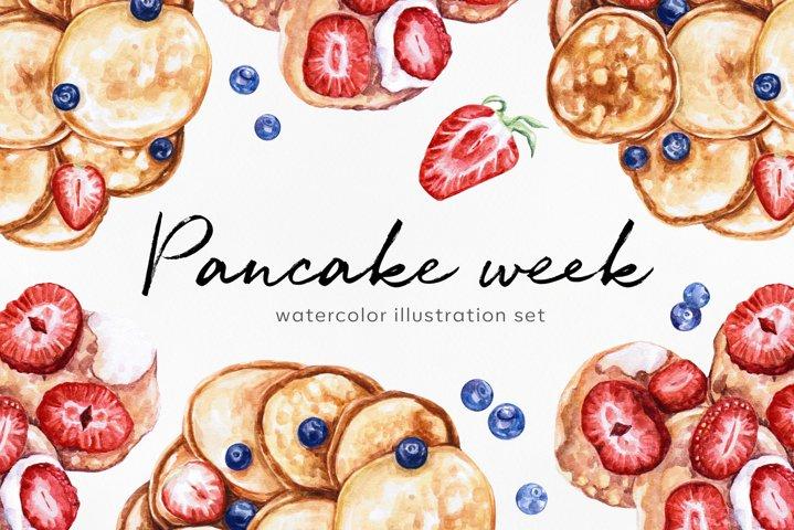 Watercolor food. Pancake week. Carnival. Shrovetide