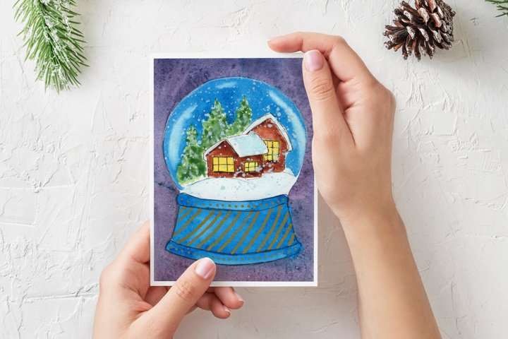 Watercolor Christmas Card. Snow Globe with house