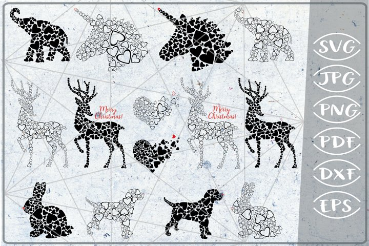 Animals Print Bundle Hearts Love Print SVG Cutting Crafters