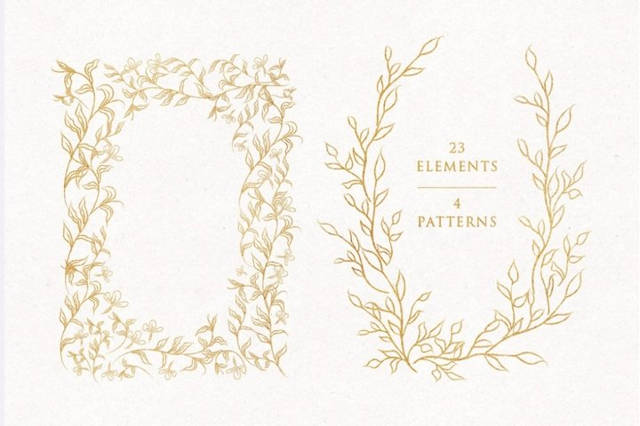 Line Drawn Golden Floristic Wreaths Sprigs botanical clipart