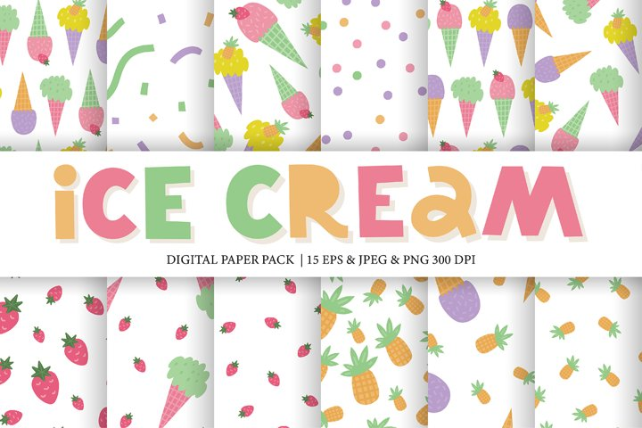 Ice cream seamless patterns with strawberry and pineapple.