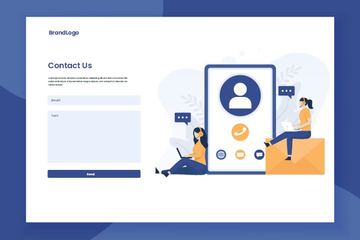Contact us form template illustration landing page