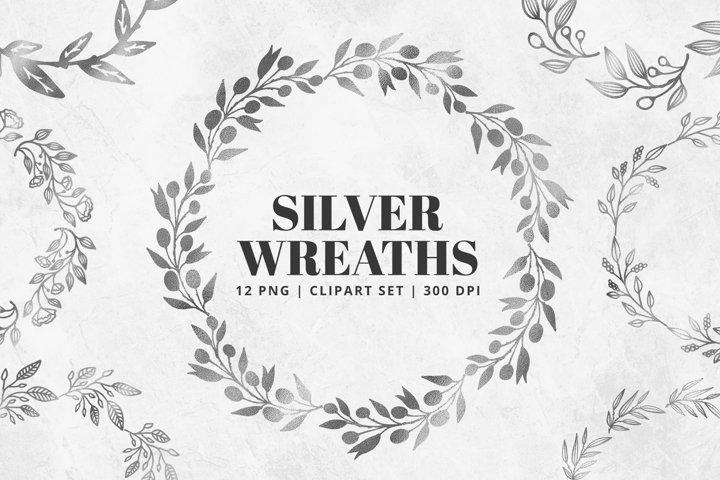 Silver Foil Wreath Clipart Set | 12 Pcs | Transparent PNG