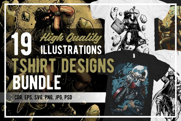 19 Illustrations Tshirt Designs Bundle