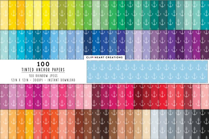 100 Tinted Anchor Digital Papers - rainbow colors 12 x 12in