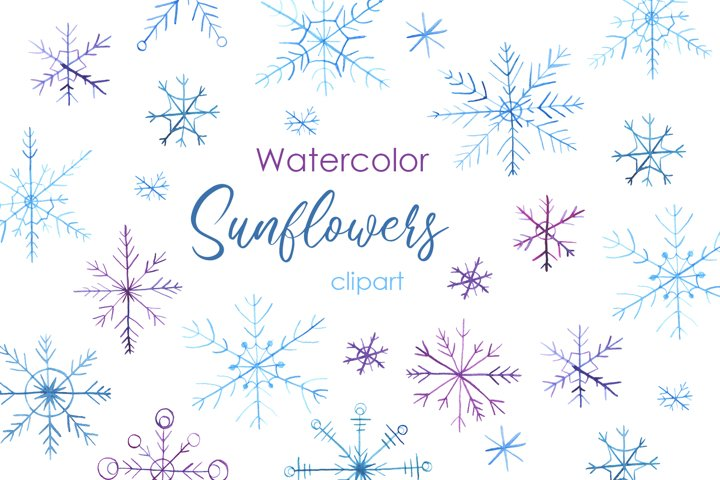 Watercolor Clipart. Snowflakes clipart. Hand drawn christmas