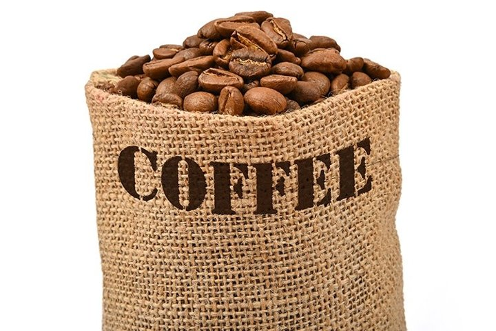 Bag of Roasted Coffee Beans Isolated on White