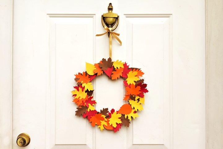 Autumn Leaf Wreath SVG Design